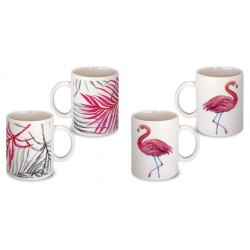 Lot de 2 Mugs déco flamant rose