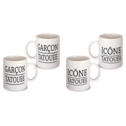 Lot de 2 Mugs déco tatoué