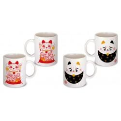 Lot de 2 Mugs chat porte bonheur