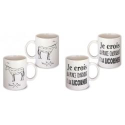 Lot de 2 Mugs je crois au prince charmant et aux licornes