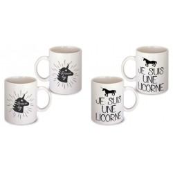 Lot de 2 Mugs je suis une licorne