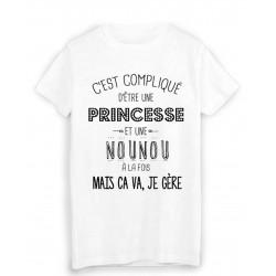 T-Shirt citation humour c'est compliqué d'etre une PRINCESSE et une NOUNOU a la fois