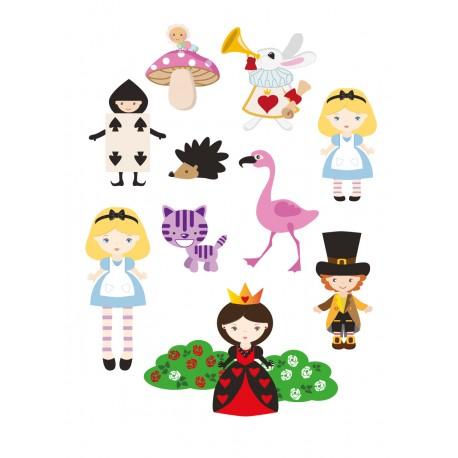Stickers Autocollants enfant déco Planche A3 Alice merveille réf 123