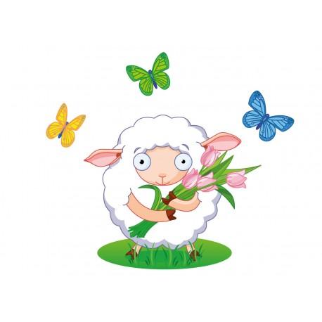 Stickers Autocollants enfant déco Planche A3 Mouton papillons réf 129
