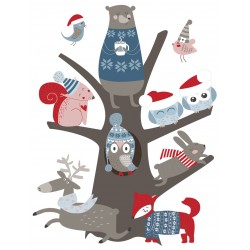 Stickers Autocollants enfant déco animaux NOEL