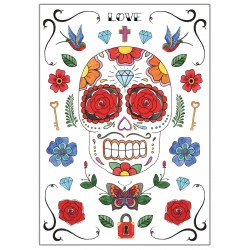 Affiches Posters déco design murale tête de mort mexicaine ref 01