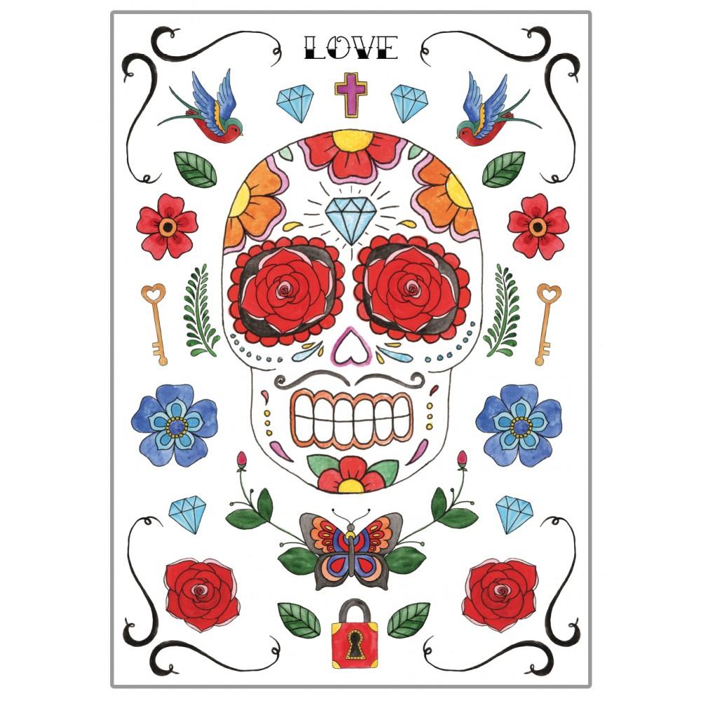 affiches posters d co murale design t te de mort mexicaine. Black Bedroom Furniture Sets. Home Design Ideas