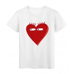T-Shirt blanc Cœur rouge yeux love réf Tee shirt 2137