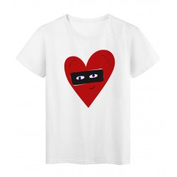 T-Shirt blanc Cœur rouge yeux love masqué réf Tee shirt 2138
