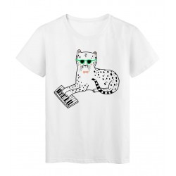 T-Shirt blanc Design chat à lunette piano réf Tee shirt 2141