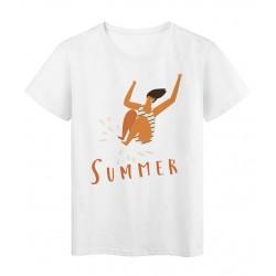 T-Shirt blanc Licorne design Summer femme splatch humour réf Tee shirt 2153
