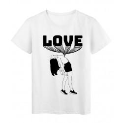 T-Shirt blanc femme noir et blanc love réf Tee shirt 2155