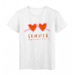 T-Shirt blanc summer lunettes cœur rouge réf Tee shirt 2156