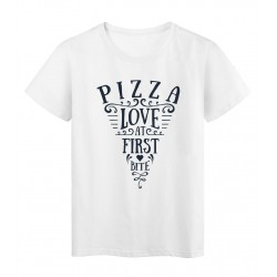 T-Shirt blanc Design pizza love at first bite réf Tee shirt 2168