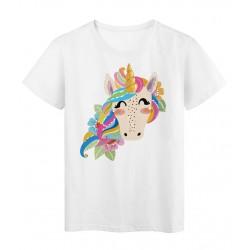 T-Shirt blanc Design cheval licorne couleurs réf Tee shirt 2169