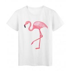 T-Shirt blanc Design oiseau flamant rose réf Tee shirt 2170