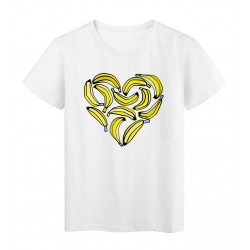 T-Shirt blanc Design cœur de bananes réf Tee shirt 2172