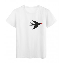 T-Shirt blanc Design oiseau noir cœur rouge réf Tee shirt 2174