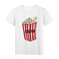 T-Shirt blanc Design Pop corn cinéma rayé rouge 2178