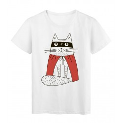 T-Shirt blanc Design Chat masque cape rouge super héros réf tee shirt 2182