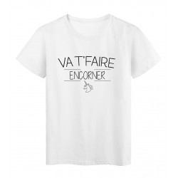 T-Shirt imprimé humour Citation VA T'FAIRE ENCORNER réf 2282