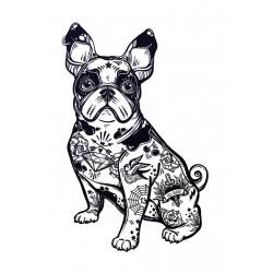 Stickers Autocollants enfant déco chien tatoué ref 441
