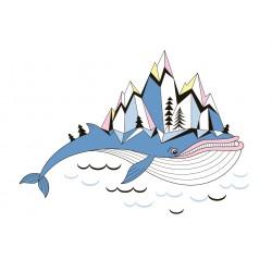 Stickers Autocollants enfant déco Baleine bleue magie et montagnes réf 453