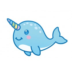 Stickers Autocollants enfant déco bébé Baleine bleue licorne réf 455