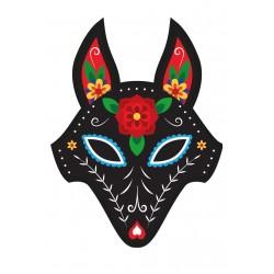 Stickers Autocollants enfant Tête de loup design fleurs ref 460