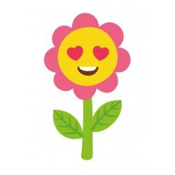 Stickers Autocollants enfant déco fleur cœur sourire réf 464