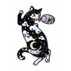 Stickers Autocollants enfant déco Chat lune étoiles réf 469