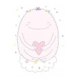 Stickers Autocollants enfant déco Monstre gentil cœur et étoiles ref 471