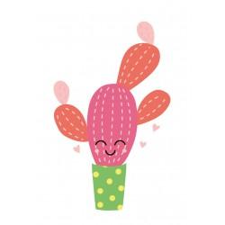 Stickers Autocollants enfant déco Cactus rose sourire design ref 474