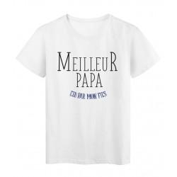 T-Shirt imprimé Fete des peres meilleur papa elu par mon fils
