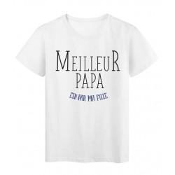 T-Shirt imprimé Fete des peres meilleur papa elu par ma fille