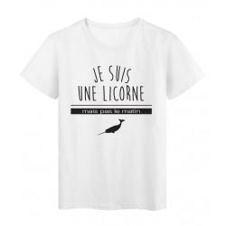 T-Shirt imprimé citation humour je suis une licorne mais pas le matin