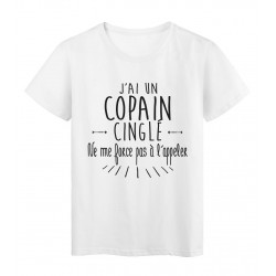 T-Shirt citation humour j'ai un copain cinglé
