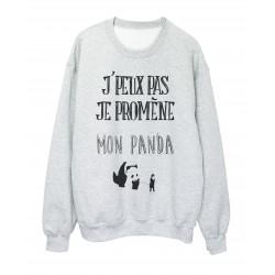 Sweat shirt imprimé citation j'peux pas je promene mon panda ref 2326