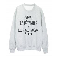 Sweat shirt imprimé Vive le pétanque et le pastaga réf 2301