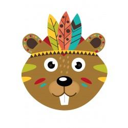 Stickers Autocollants enfant déco CASTOR INDIEN