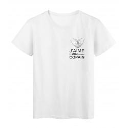 T-Shirt imprimé citation humour j'aime le vin et mon copain