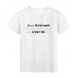 T-Shirt imprimé citation mon trésor le plus precieux c'est toi