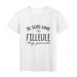 T-Shirt imprimé citation humour Je suis une filleule trop géniale