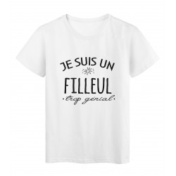 T-Shirt imprimé citation humour Je suis un filleul trop génial