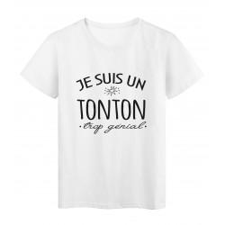 T-Shirt imprimé citation humour Je suis un tonton trop génia
