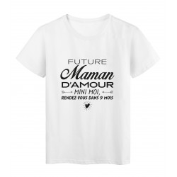 T-Shirt imprimé citation humour future maman d'amour