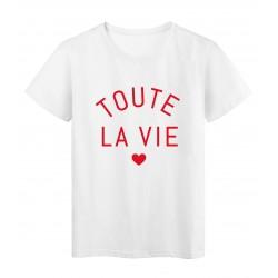 T-Shirt imprimé citation toute la vie
