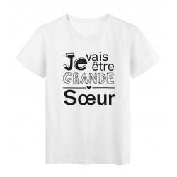 T-Shirt imprimé citation je vais etre grande soeur
