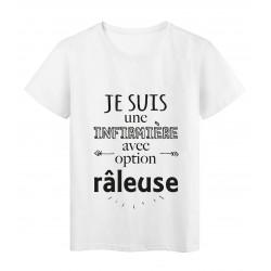 T-Shirt imprimé citation humour je suis une infirmiere avec option raleuse
