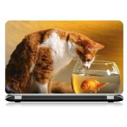 Stickers Autocollants ordinateur portable PC chat et poisson